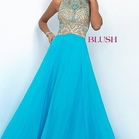 Long Blue Sleeveless High Neck Prom Dress by Blush