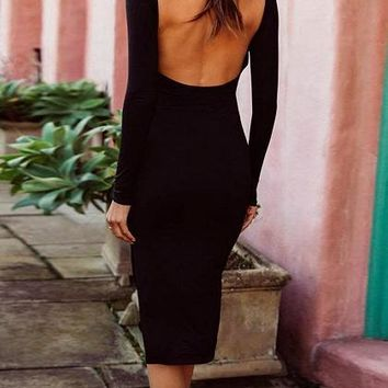 Black Split Side Open Back Long Sleeve Bodycon Dress