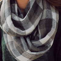 Checkmate Infinity Scarf- Charcoal