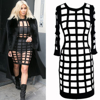 Plaid Cut Out Long Sleeve Bodycon Mini Dress