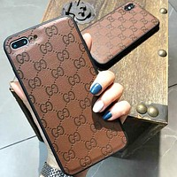 GUCCI Fashion New More Letter Leather Protective Cover IPhone Phone Case Coffee