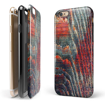 Grungy Orange and Teal Dyed Wood Surface iPhone 6/6s or 6/6s Plus 2-Piece Hybrid INK-Fuzed Case