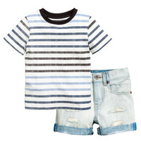 T-shirt and Denim Shorts - from H&M