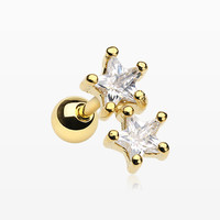 Golden Star Sparkle Duo Cartilage Tragus Barbell