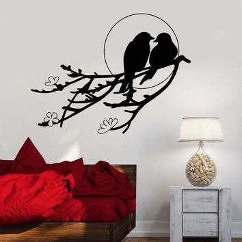 Vinyl Wall Decal Two Birds Sunset Tree Branch Romance Flowers Stickers Unique Gift (802ig)