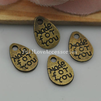30pcs Antique Brass Made for You Tags Charms Pendant, 8x12mm made for you Charms Connector