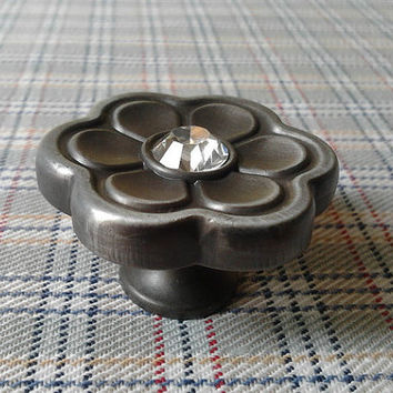 Shabby Chic Dresser Drawer Knobs Pulls Handles Flower Antique Black / Glass Crystal Retro Cabinet Knob Pull Handle Hardware Metal