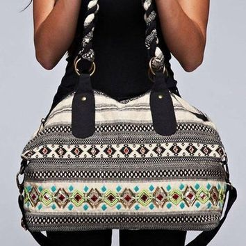Grab and Go Beaded And Embroidered Dual Strap Hobo Bag By Love Stitch