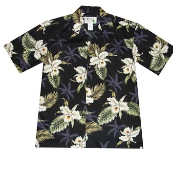 KY's Black Mens Button Down Hawaiian Shirt with White Orchids