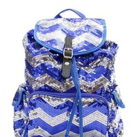 Chevron Sequin Backpack Royal/silver