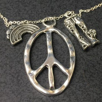 Peace Sign Necklace With Bell Bottoms And Rainbow Boho Silver Tone Hippie Gypsy Jewelry Flower Child