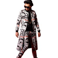 Letter Printing Male Trench Jacket Men Fashion Casual Slim Fit Long Trench Coat Custom Made Stage Show Costumes