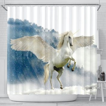 Unicorn In Snowfall Print Shower Curtain-Free Shipping