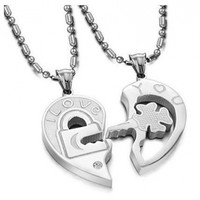 His & Hers Matching Set Open Your Heart Couple Pendant Necklace Simple Love Style in a Gift Box (A Set)