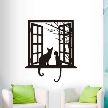 Cats Vinyl Wall Sticker Home Decor For Living Room Cat Looking Though Window Art Mural Bedroom Decals Home Decor