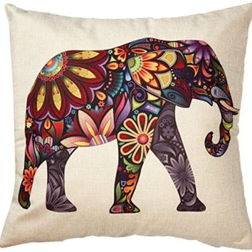 "Generic Bright Color Flower Elephant Burlap Pillow Cases Cushion Covers, 18"" x 18"""