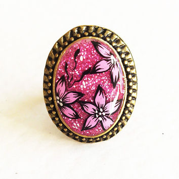 Hand painted Ring Rose Sherbet. pink flower Adjustable ring