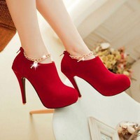 Fashion Heart Pendant Side Zippers Ankle Boots