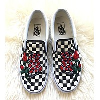 Vans Classics Checkerboard Slip-On Rose Embroidery Gucci Snake Sneaker