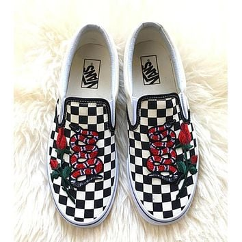 Vans Classics Checkerboard Slip-On Rose Embroidery Gucci Snake S 510ce5df05