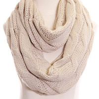 (pre-order) Ivory Cable Knit Infinity Scarf