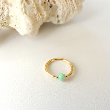 14K Gold Plated Green Fire Opal Cartilage Earring, Tragus Rook Helix Cartilage Earring, CBR Captive Bead Ring Cartilage Hoop. 1114