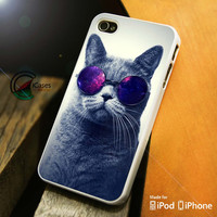 Cat Glasses iPhone 4 5 5c 6 Plus Case, Samsung Galaxy S3 S4 S5 Note 3 4 Case, iPod 4 5 Case, HtC One M7 M8 and Nexus Case