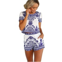 Flymall Womens Floral Print Romper Jumpsuit Crop Top and High Waist Short Set (L)