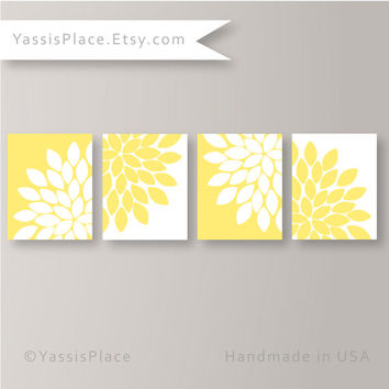 Yellow Home Decor Wall Art Yellow Flower Burst Art Bathroom Decor Yellow Grey Living Room Decor, Bathroom Wall Art by YassisPlace FB-003-15