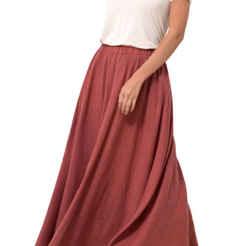 High Waist Cotton Slub Gauze A-Line Maxi Skirt with Pockets