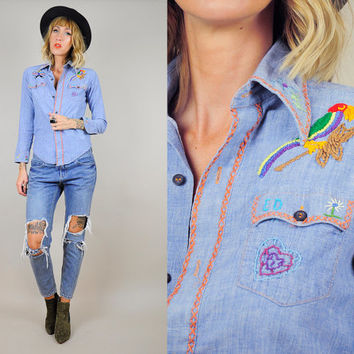Chambray 70's Hand Embroidered JEAN shirt thin Denim Palm tree Monogram Novelty Hippie xs
