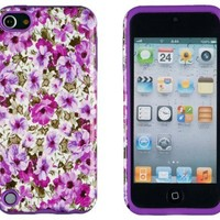 DandyCase 2in1 Hybrid High Impact Hard Lavender Garden Floral Pattern + Purple Silicone Case Cover For Apple iPod Touch 5 (5th generation) + DandyCase Screen Cleaner