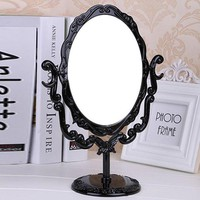 ONETOW Desktop Rotatable Gothic Small Size Rose Makeup Stand Mirror Black Butterfly  [2974244222]