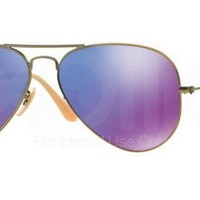 Ray-Ban RB3025 Aviator Large Metal Sunglasses Brushed Bronze Demi Shiny Grey Mi