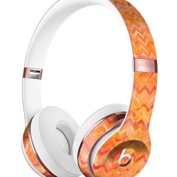 Orange Multi Watercolor Chevron Full-Body Skin Kit for the Beats by Dre Solo 3 Wireless Headphones