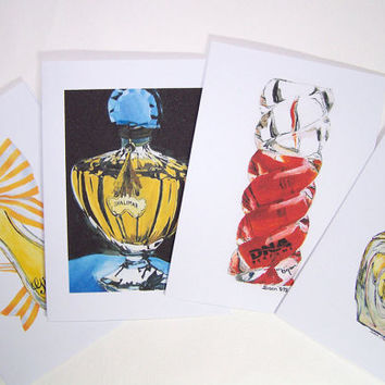 Perfume Bottle Painting Greeting Card Set