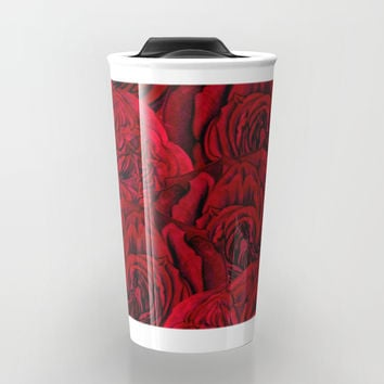 Rouge Garden - Red Roses and Peonies Pattern Travel Mug by cadinera