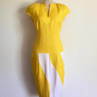 GEORGE GROSS!!! Vintage 1980s 'George Gross' yellow and white, colour blocked linen dress with curved panelled skirt