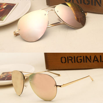 Contain Rose Gold New Luxury Alloy Cat Eye Sunglasses Cosy Shades Men Women Brand Designer Eyewear Aviator Sun Glasses Oculos