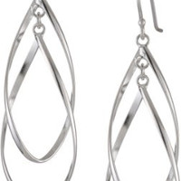Sterling Silver Double Elongated Oval Twist French Wire Earrings