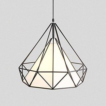 WINSOON Industrial Metal Cage Lamp Guard Wrought Iron Diamond Shape Shade Modern Hanging Pendant Light (1 Head White Inside)