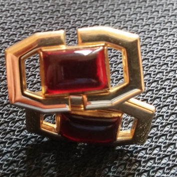 Vintage Anson cufflinks cuff link red gemstone gold Men's jewelry accessories