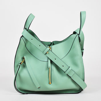 "Loewe Seafoam Green Leather Small ""Hammock"" Crossbody Bag,leather shoulder bag Rustic Novelty"