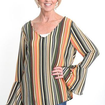 Fall Striped Tie Back Blouse