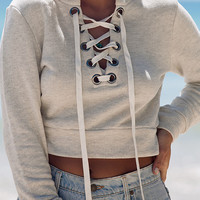 Gray Lace Up Front Eyelet Detail Crop Sweatshirt