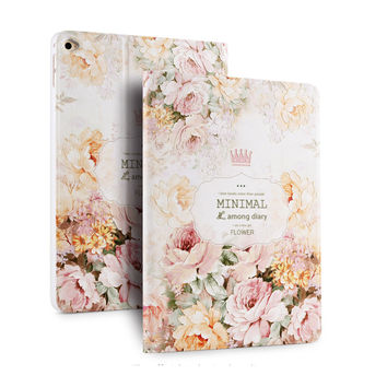 3D Embossing Case For Ipad Air 2 PU Leather Smart Case for iPad Air 2 in Unique Fashion Floral Luxury Totem Vintage Design