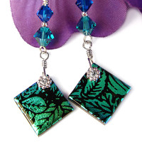 Teal Blue Earrings Dichroic Glass Leaf Image Crystals Sterling Silver