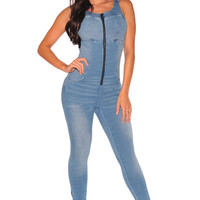 Front Zip Backless Sexy  Denim Jumpsuit Skinny Pant Ladies Jumpsuit Jeans Coverall Rompers  Denim Overalls SM6