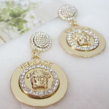 VERSACE Hot Sale Women Exaggerated Shiny Diamond Pendant Earrings Accessories Jewelry Golden