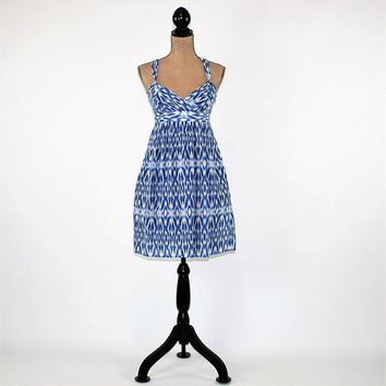Sundress Women Summer Dress XS Small Petite Cotton Silk Blue Batik Dress Empire Waist High Waist Dress Size 4 Ann Taylor Womens Clothing
